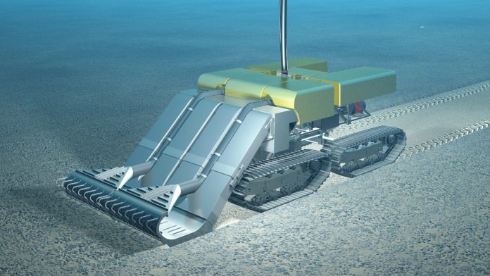 An artist's rendering of a deep-sea vehicle designed by Dutch company Royal IHC to harvest polymetallic nodules from the seabed. (Royal IHC)