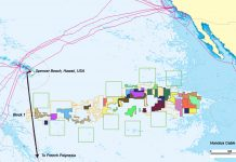The Honotua Cable that crosses CCZ Block 1, based on ISA's maps. Image courtesy Business Wire.