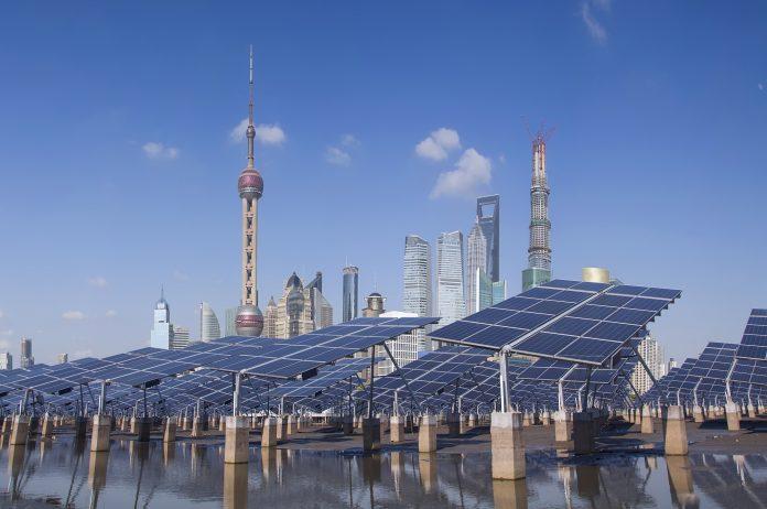 Shanghai Bund skyline landmark ,Ecological energy renewable solar panel plant