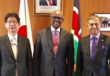 Ambassador Masahiko Kiya, the Ambassador for TICAD 7,MOFA Japan, Ambassador Soloman Maina, Kenya's ambassador to Japan and Siddharth Chatterjee, United Nations Resident Coordinator to Kenya (Kenya Embassy)