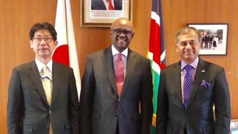 Ambassador Masahiko Kiya, the Ambassador for TICAD 7,MOFA Japan, Ambassador Soloman Maina, Kenya's ambassador to Japan and Siddharth Chatterjee, United Nations Resident Coordinator to Kenya (Kenya Embassy)