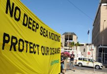 Greenpeace organized a peaceful demonstration on the protection of the ocean outside the headquarters of the ISA. Photo ENB.